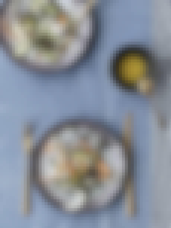 """Forret — 29.7.19 """"Crudité"""" med asparges og blød gedeost"""