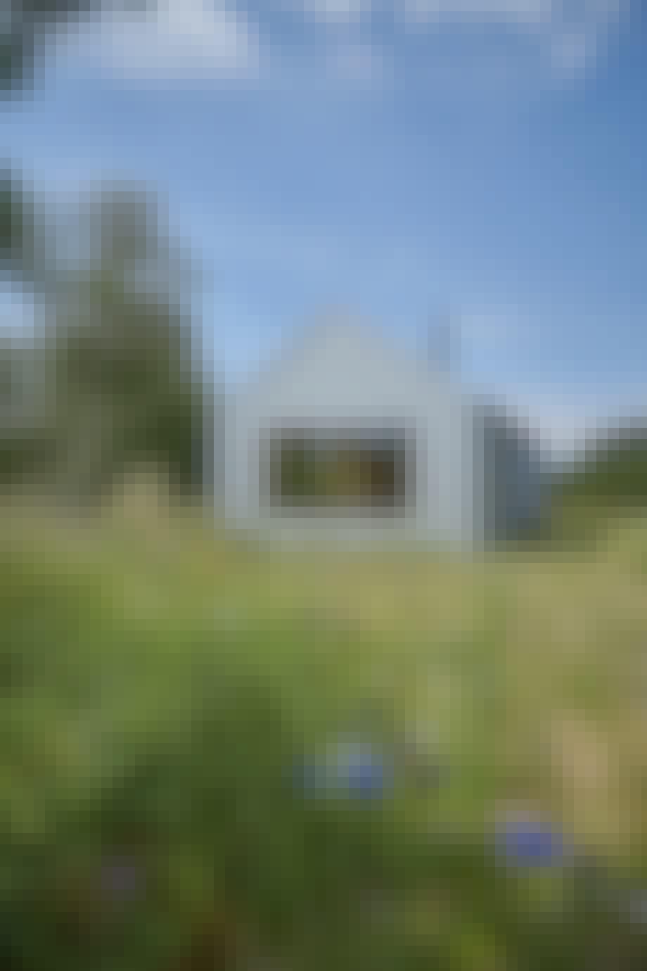 Sommerhuset i stål er omgivet af vild natur