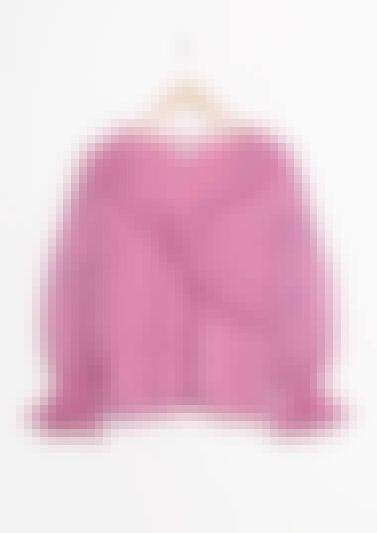 prikket lyserød pufærme bluse med flæser