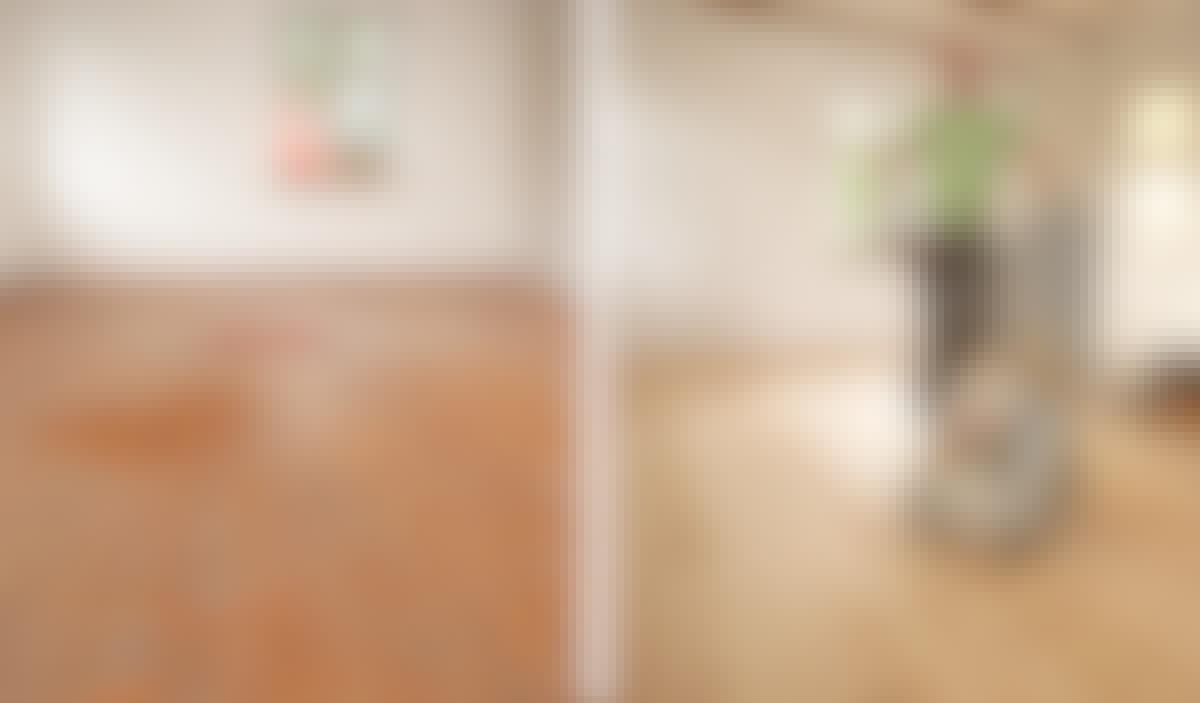 Tumma, lakattu lattia on poissa ja kauniit vaaleat laudat uudistivat koko huoneen ilmeen.