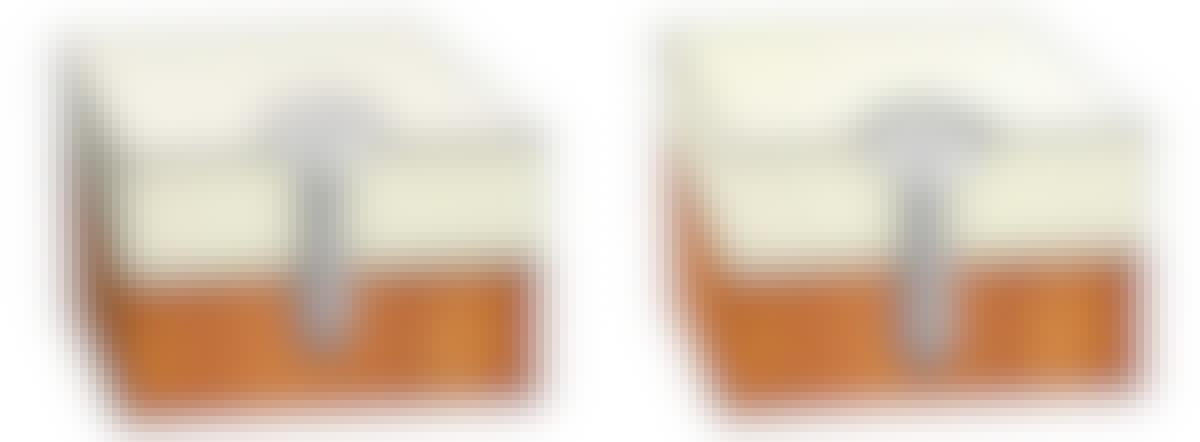 Ruuvin pitää painaa levyä alustaa vasten. Levyn kartonkipinta ei siis saa ruuvattaessa rikkoutua, kuten vasemmanpuolisessa kuvassa on käynyt.