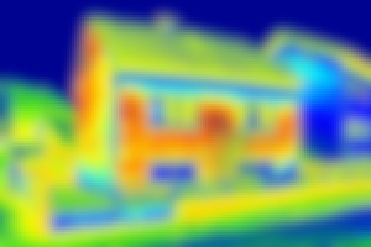 De røde fargene på et termografi avslører varme felter.