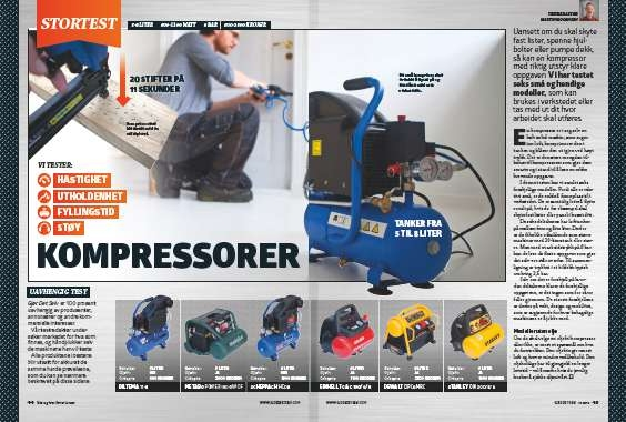 Vi tester 6 kompressorer i vår kompressor test