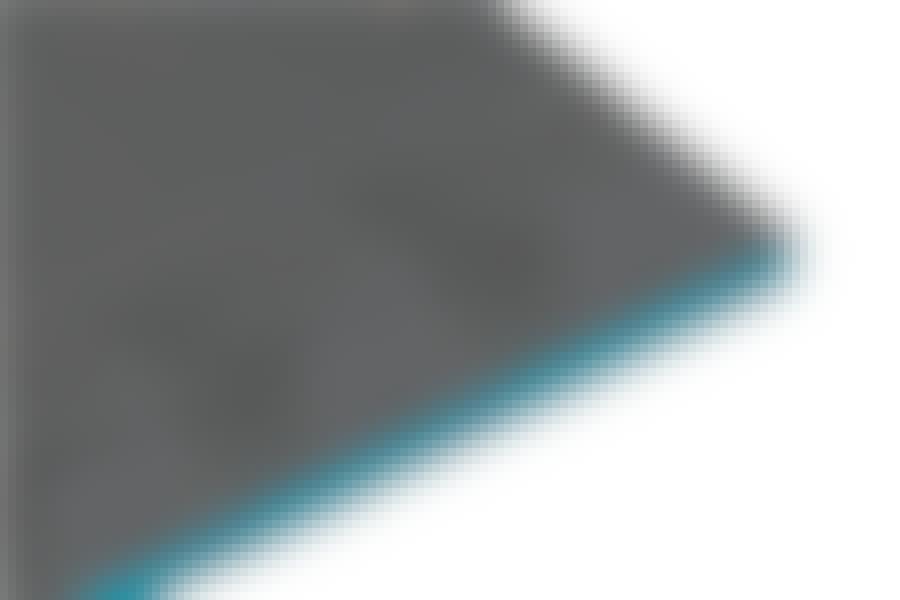 Polystyren: Ekspanderet polystyren består af 98 procent luft. Pladen her er beklædt med forstærkende glasfibervæv.
