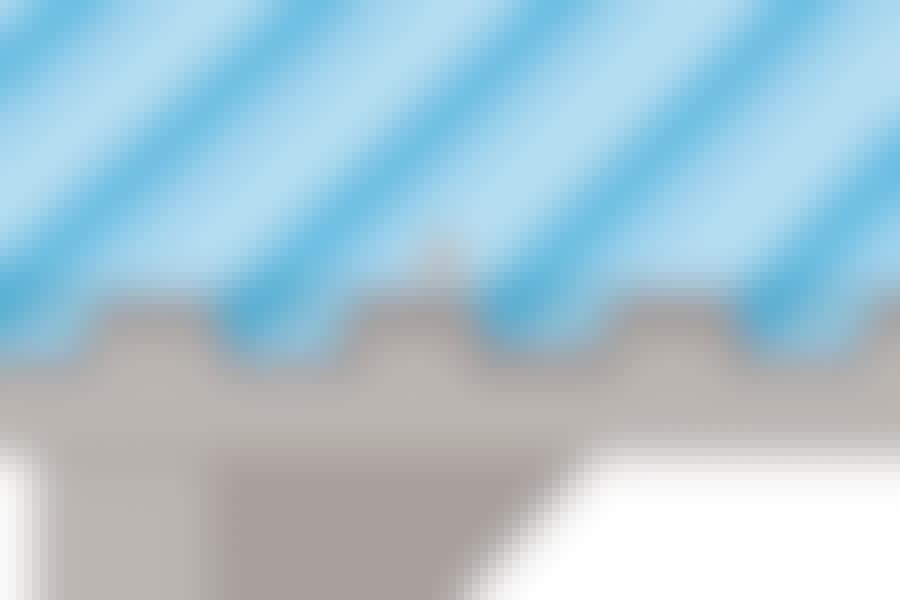 Plastplader til tag: Trapezplader skal altid samles med et overlap. Typisk to bølgetoppe og en bølgedal som vist her.