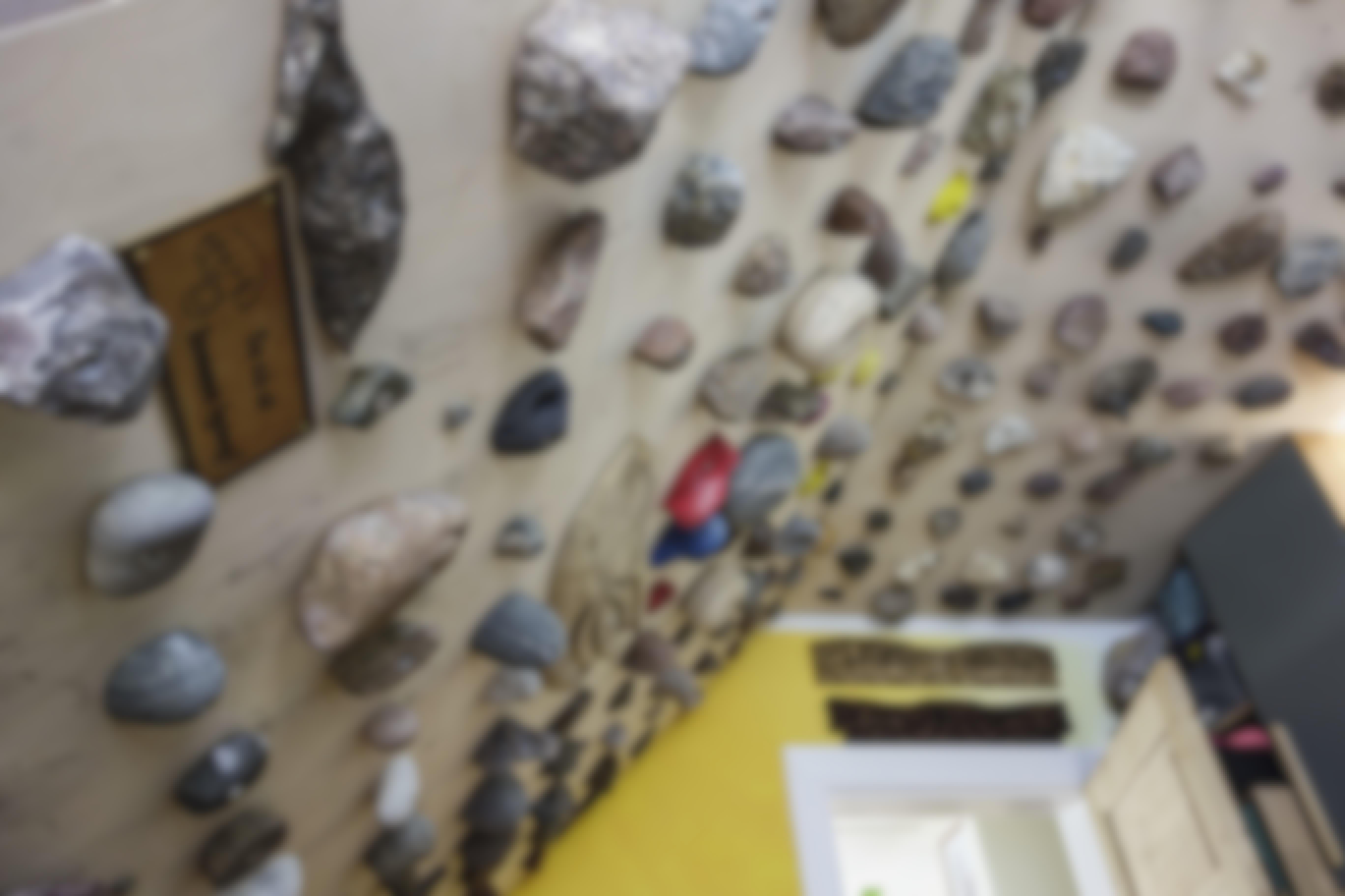 269 sten samlet rundt om i verden er hovedingrediensen i Tors klatrevæg i lejligheden.