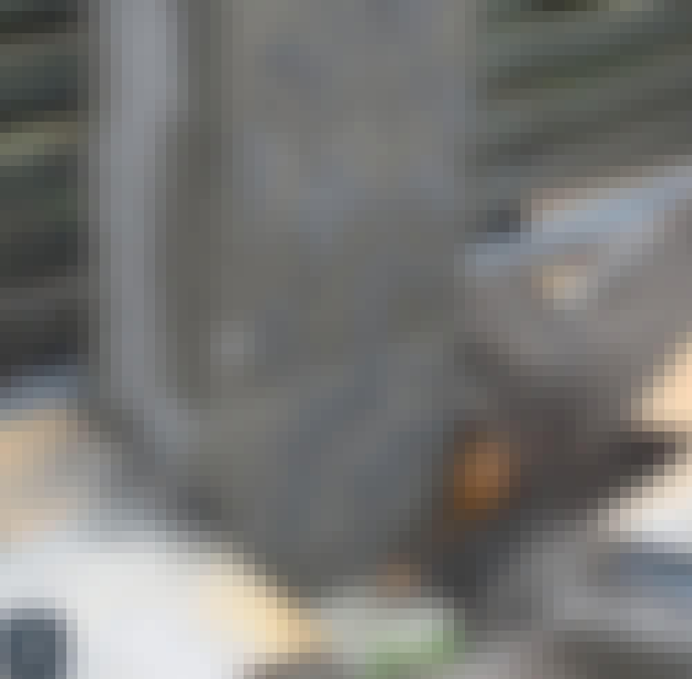 Skyveport: Søylen pusses.