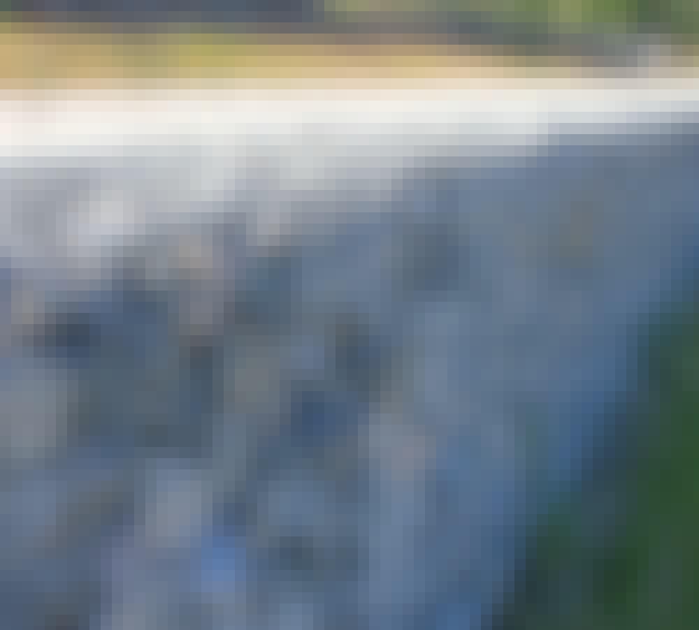 Gabion: Her har man valgt at bruge granitsten