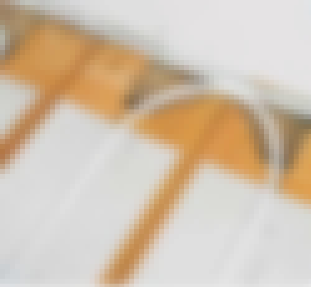 Vannbåren varme tregulv: Slik vender pex-røret i endene av bordene i en bue med radius 15 cm.