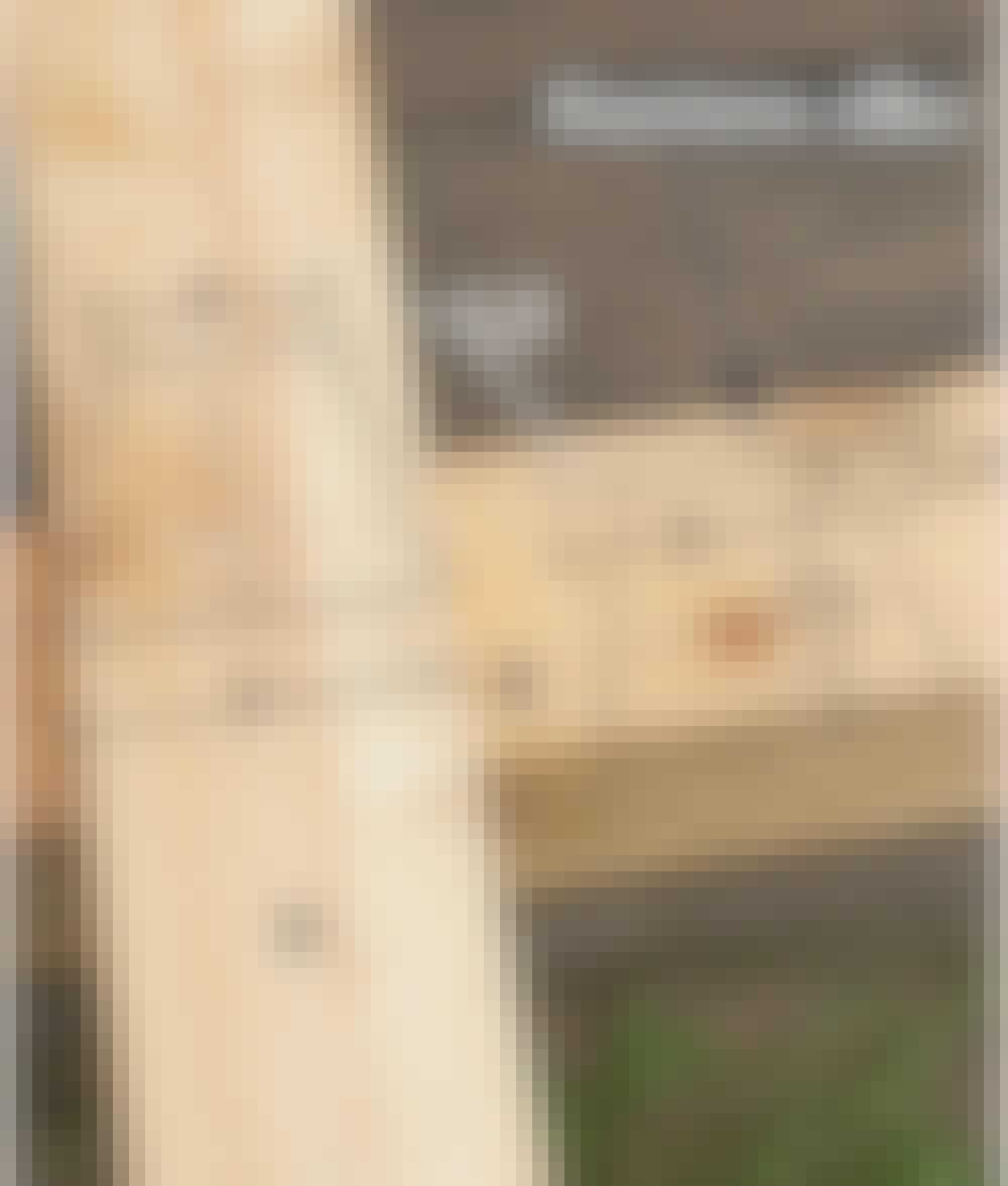 Purjekatos: Piirrä kannatinpalkkiin (D) ja yläsidepuuhun (B) merkkiviivat kuten kuvassa.