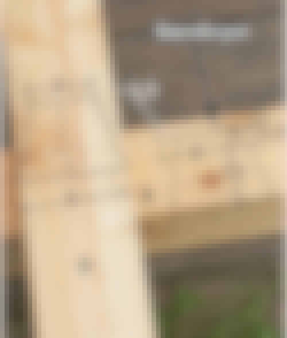 Seilduk: Tegn opp på sperren (D) og overliggeren (B), som vist på bildet.