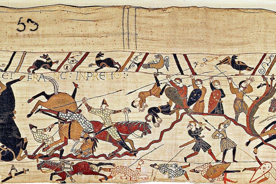 Bayeuxtapeten med scen från slaget vid Hastings 1066.