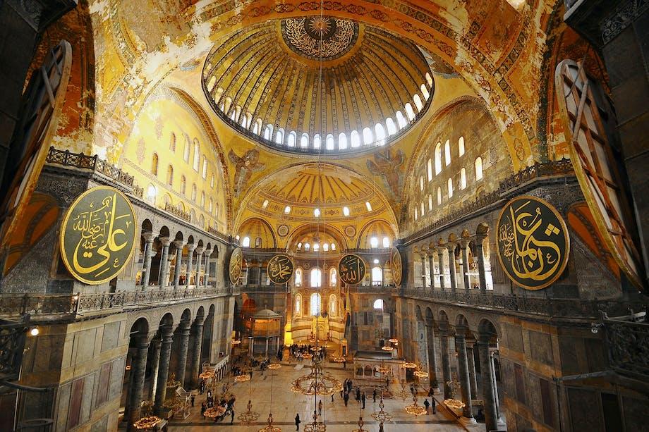 Hagia Sofia i Istanbul. Interiör vid kupolen.