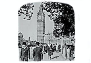 Klocktornet Big Ben i London på en bild från cirka 1909.