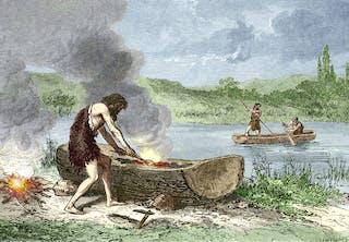 Med øks og ild kunne steinaldermannen hule ut en trestamme og få en kano.