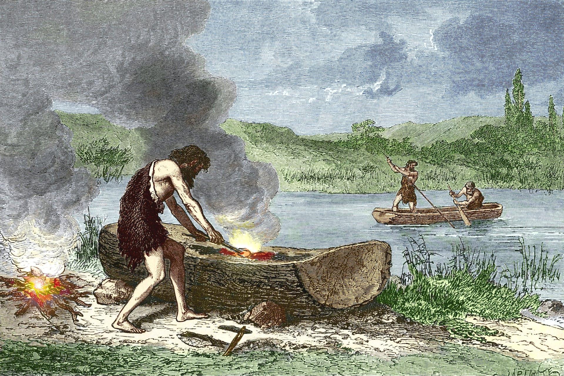 Kivikauden ihminen pystyi kovertamaan puunrungosta ruuhen tulella ja kirveellä.