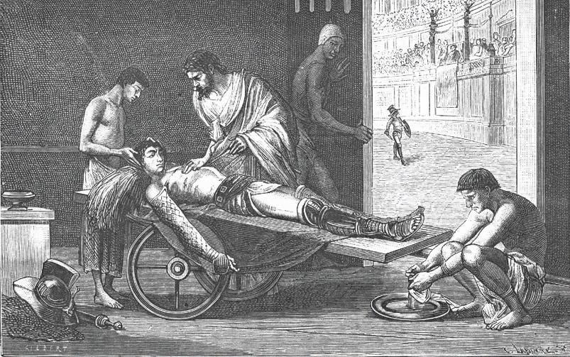 Galenos var kirurg vid en amfiteater där hans anatomikunskaper kom till sin rätt.