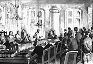 Session vid Stockholms rådhusrätt 1877.