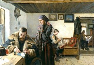Provinsialläkare på besök i stuga. Oljemålning från slutet av 1800-talet.