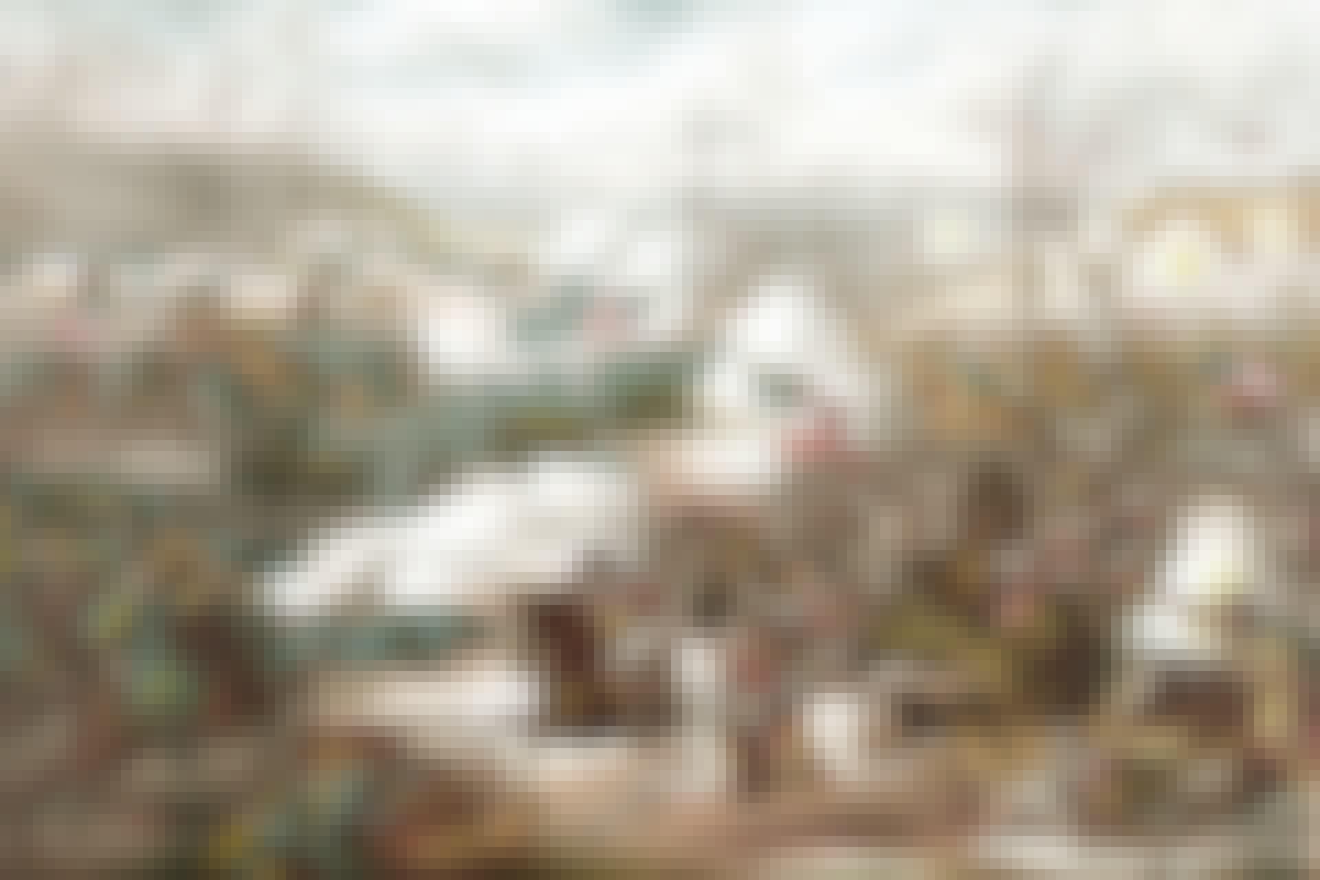 Slaget vid Pea Ridge under amerikanska inbördeskriget. Stridsscen med cherokeser i förgrunden.