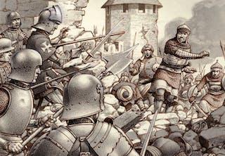 Belägringen av Rhodos 1522–23. Osmanska janitsjarer anfaller, johanniterorden försvarar.