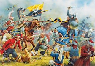 Belägringen av Wien 1683, polska husarer anfaller in i osmanernas läger.