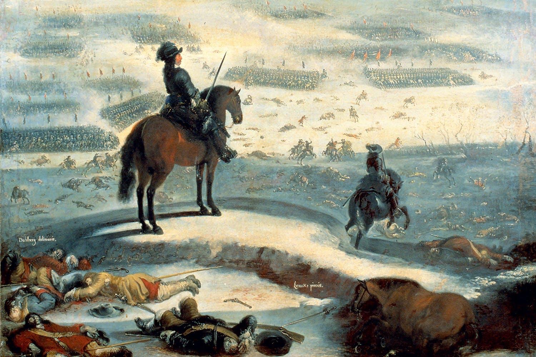 Karl X Gustav övervakar tåget över Bält 6 februari 1658. Svenska armén går ut på isen.