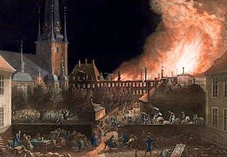 Storbrand på Riddarholmen i Stockholm år 1802. Cruuska palatset i lågor.