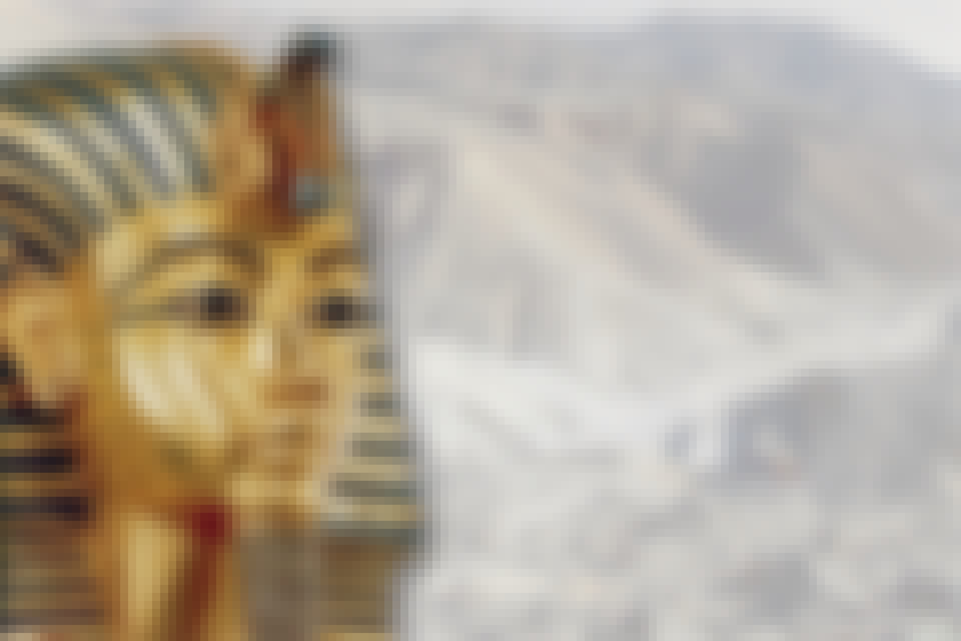 Den guldmask farao Tutankhamun begravdes med.
