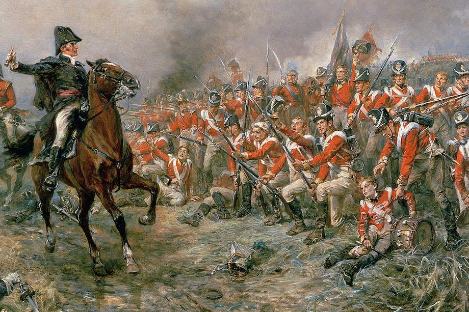 Wellington till häst under slaget vid Waterloo 1815 där Napoleonkrigen slutgiltigt avgjordes.