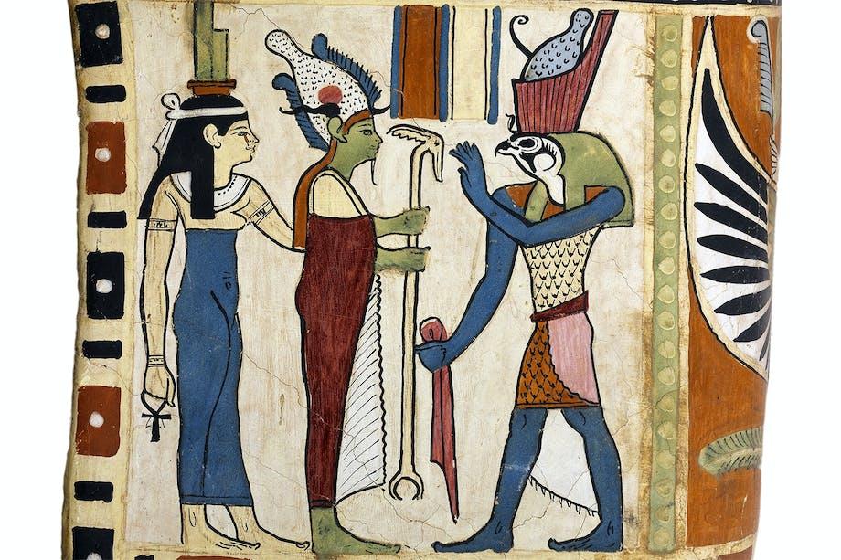 De egyptiska gudarna Isis och Osiris med sonen Horus.