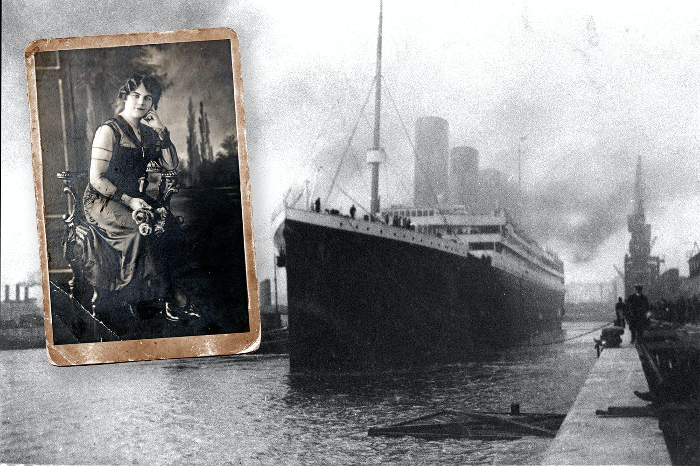 Titanic-överlevaren Olga Lundin på infällt porträtt. Fartyget Titanic lämnar hamnen i Southampton för sin jungfrufärd.