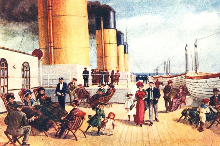 Titanics däck för andraklass-passagerarna. Målning.