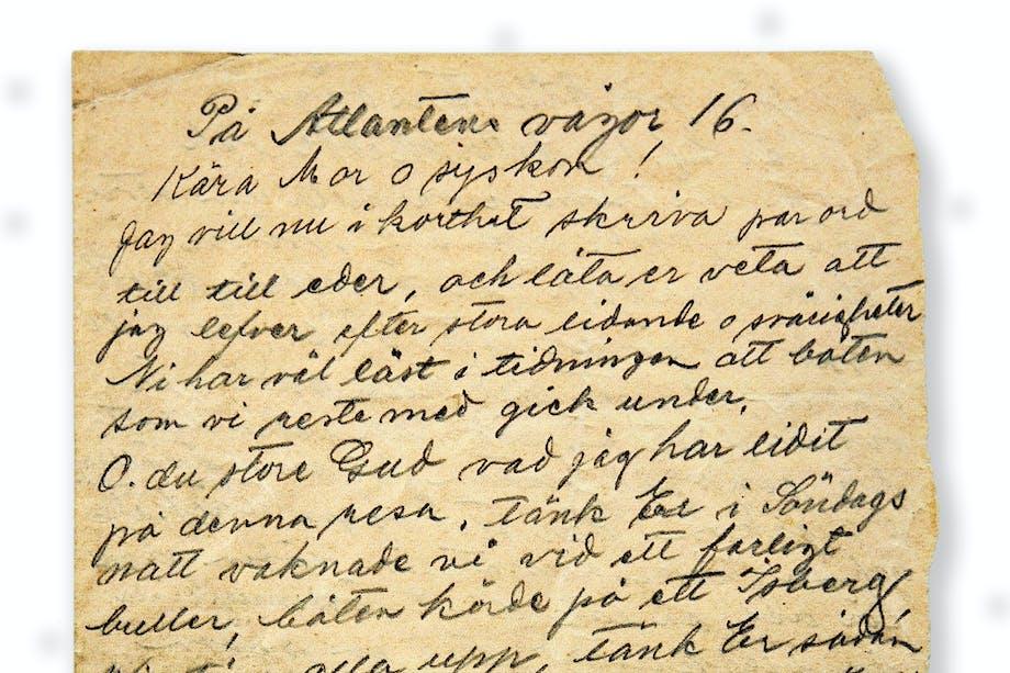 Brev där Titanic-överlevaren Olga Lundin berättar att hon lever.