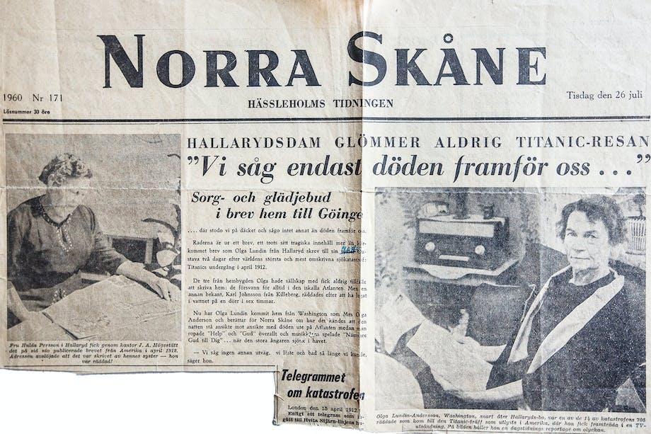 Klipp från tidningen Norra Skåne 1960 där Titanic-överlevaren Olga Lundin berättar sin historia.