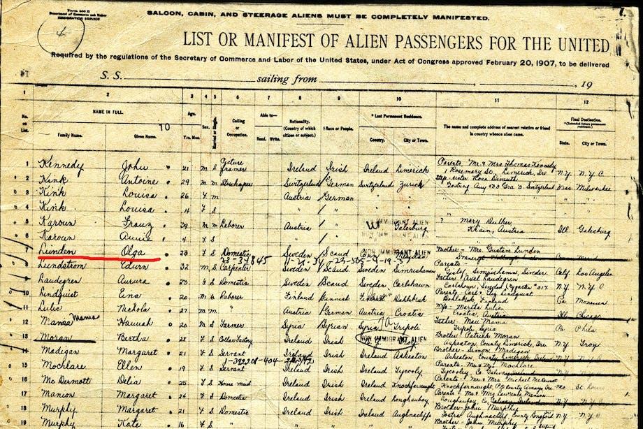 Carpathias lista över de passagerare de räddat från Titanic.