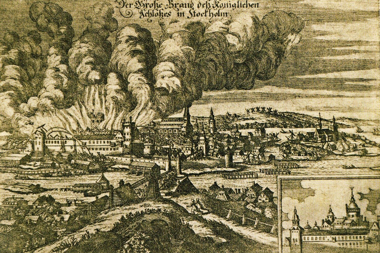 Översiktsbild över slottsbranden på slottet Tre kronor 1697.