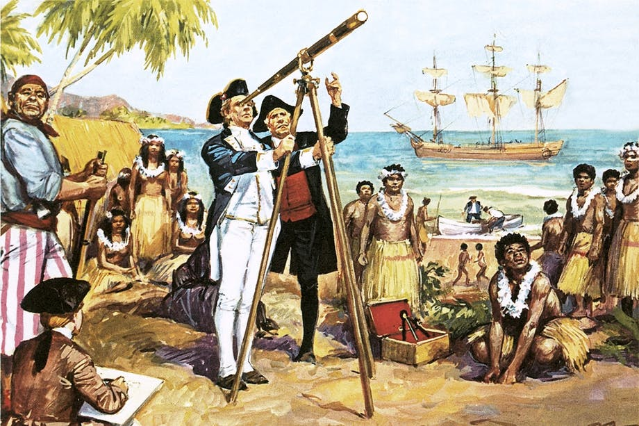 James Cook observerar Venuspassagen i teleskop på Tahiti 1769.
