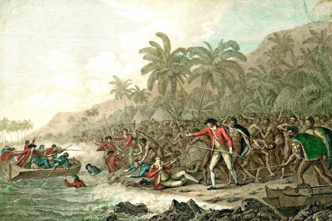 Upptäcktsresande James Cook misshandlas på Hawaii 1779.
