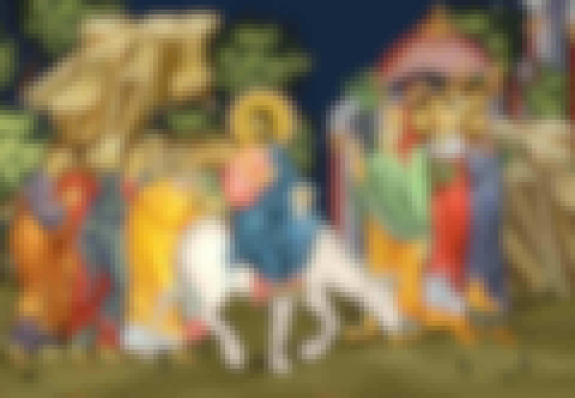 Fresco van Jezus die Jeruzalem binnenrijdt op een ezel