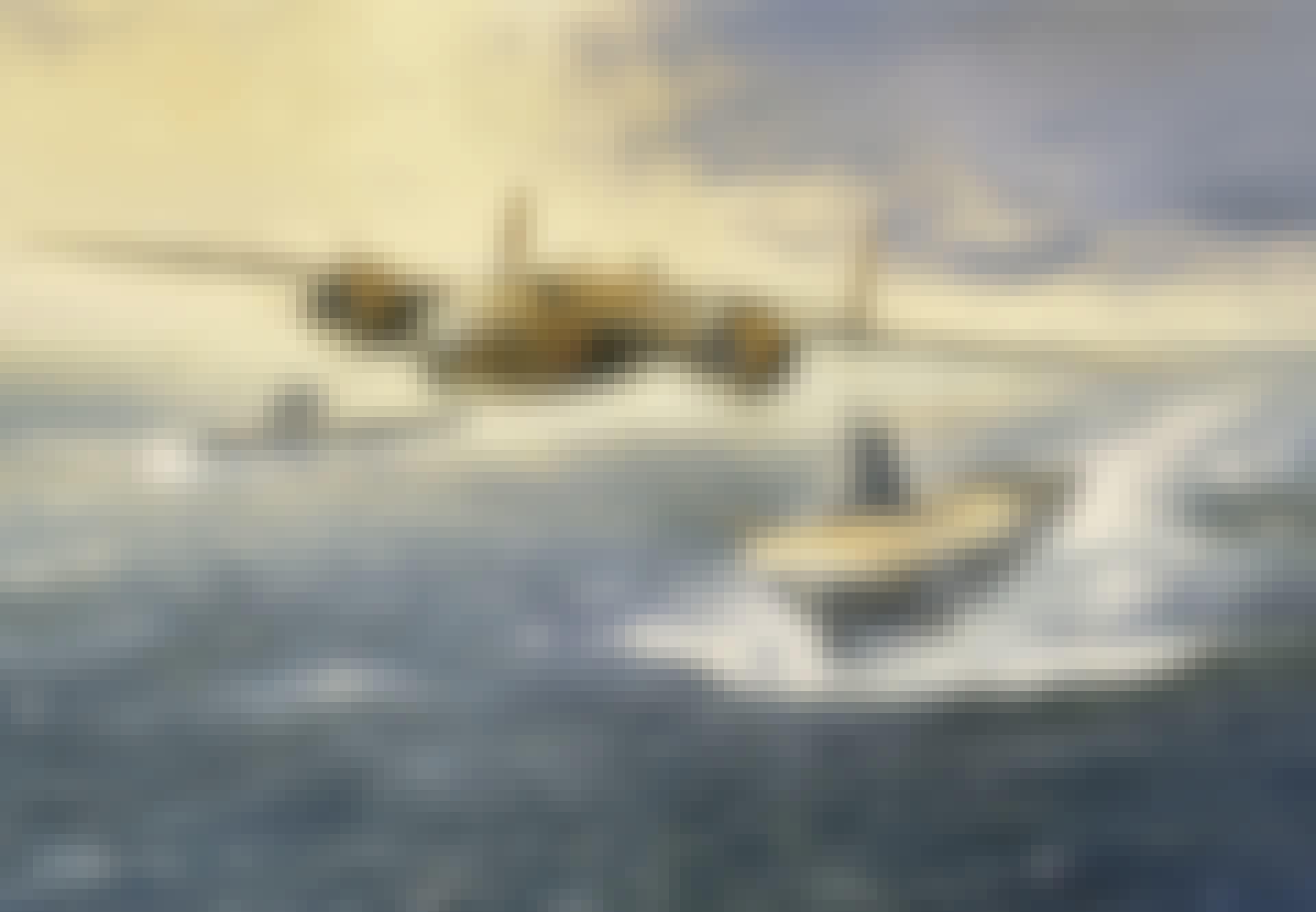 Kampfly, skibe, illustration