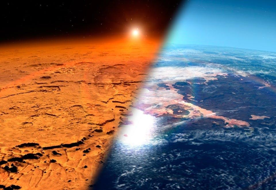De atmosfeer van Mars