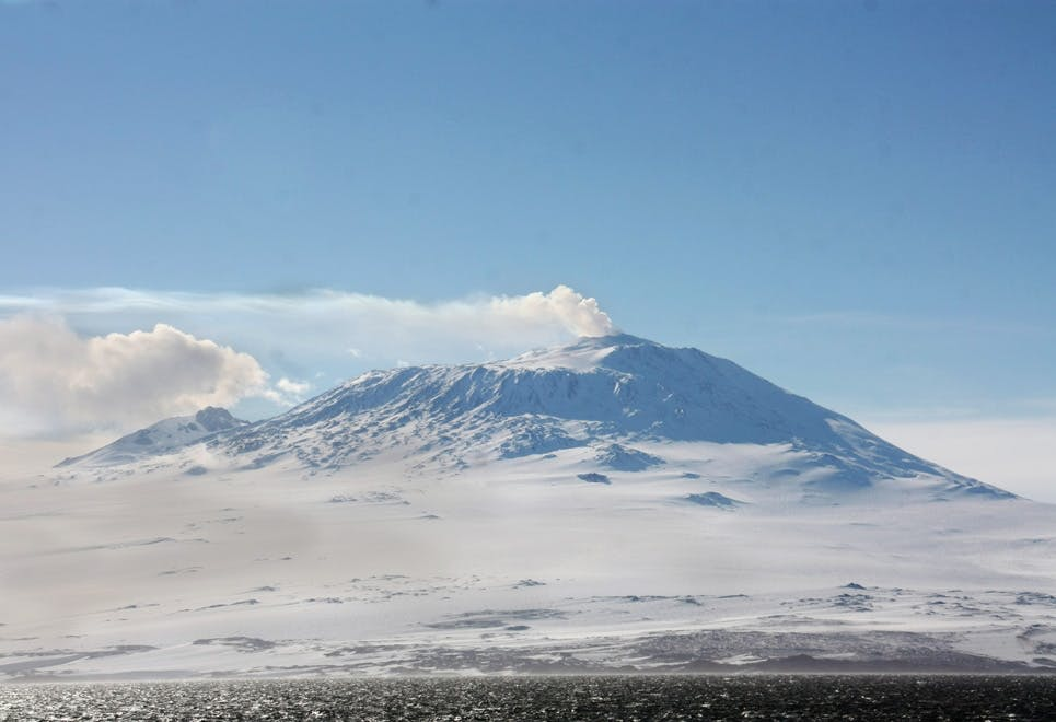 Aktiv vulkan på Antarktis