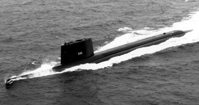 De Amerikaanse onderzeeër USS Triton.