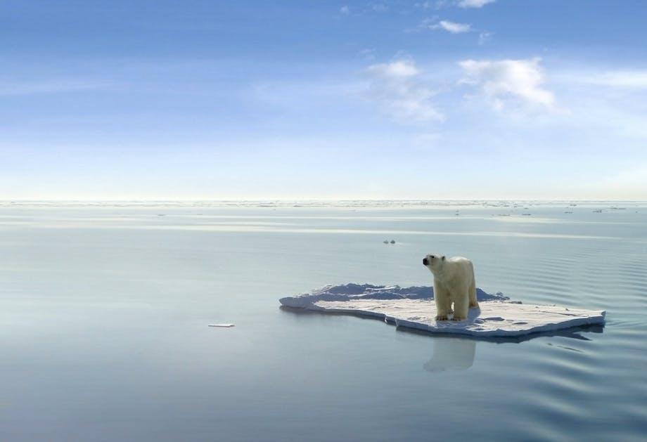Isen smelter på polene som en konsekvens av drivhuseffekten