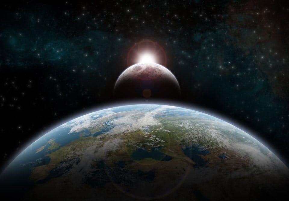 Zonsverduisering met maan, aarde en zon
