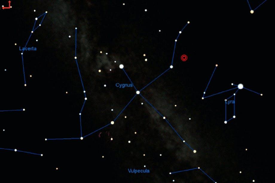 Rød nova placering