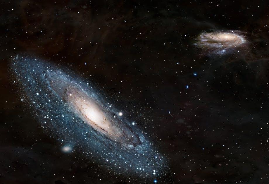 Vintergatan och granngalaxen Andromeda