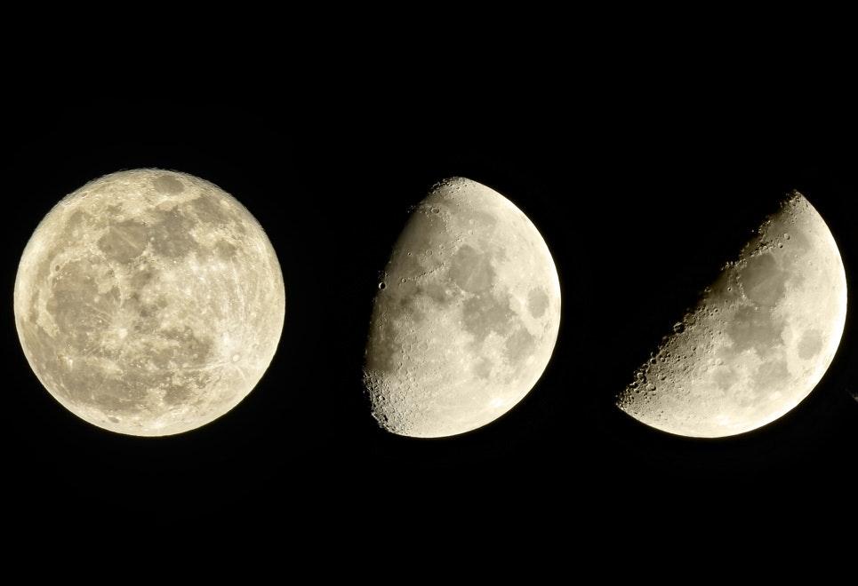 månens placering på himlen