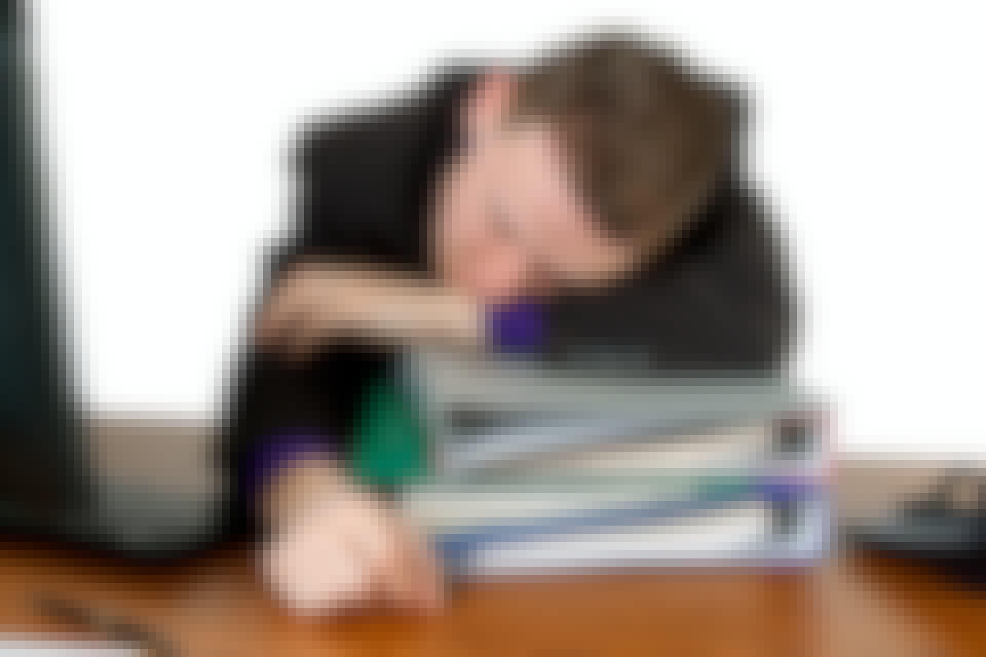 Tired man at work